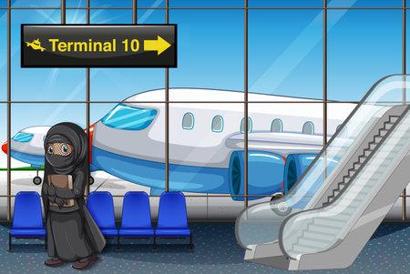 Muslim girl at the airport terminal illustration