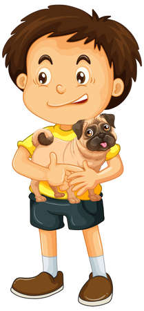 Boy with his dog isolated illustration