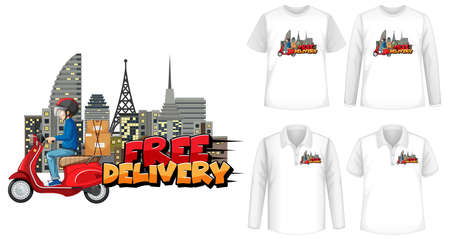 Set of mockup shirt with delivery theme illustration