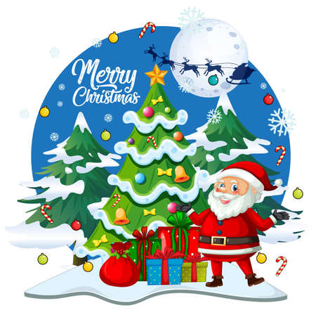 Merry Christmas font with cute Santa Claus cartoon character in christmas theme on white background illustration 免版税图像 - 161313756