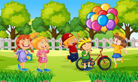 Children at ourdoor nature background illustration 矢量图像