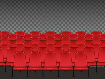 Red seat in the cinema with transparent background illustration