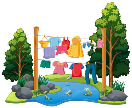 Many clothes hanging on a line with nature elements illustration