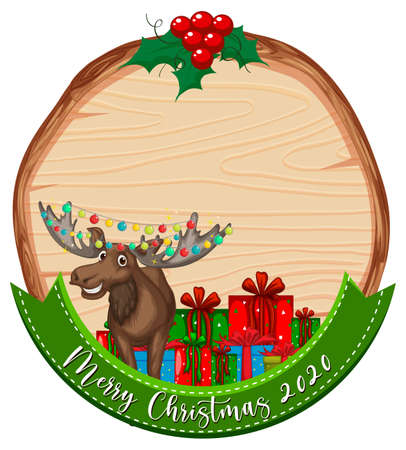 Blank wooden board with Merry Christmas 2020 font logo and reindeer  illustration 免版税图像 - 161313762