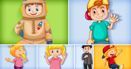 Set of different kid characters on different color background illustration 免版税图像 - 161313763