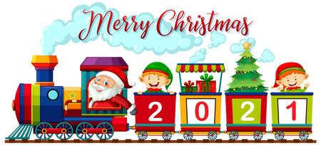 Merry Christmas font with Santa Claus and elf on the train on white background illustration