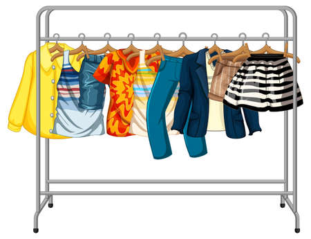 Many clothes hanging on a clothes rack on white background illustration
