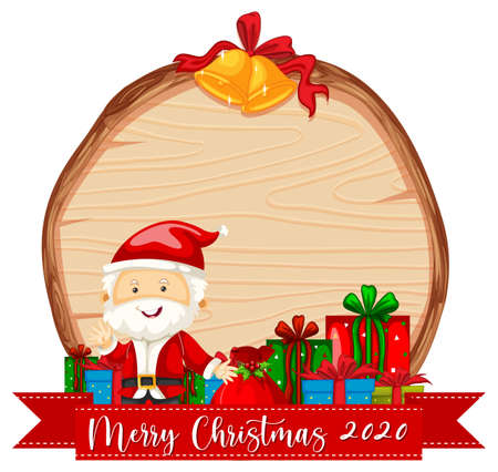 Blank wooden board with Merry Christmas 2020 font logo and Santa Claus illustration