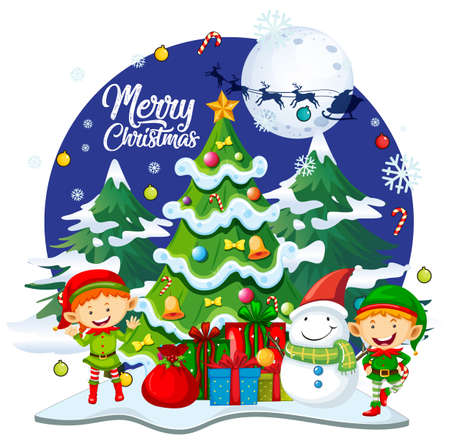 Merry Christmas font with cute elf in christmas theme on white background illustration 免版税图像 - 161313767