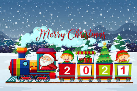 Merry Christmas font with Santa Claus and elf on the train in snow scene illustration 矢量图像