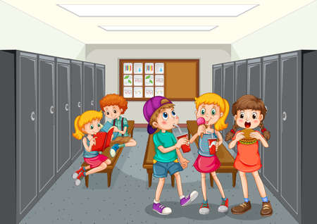 Group of children at changing room illustration 免版税图像 - 161313771