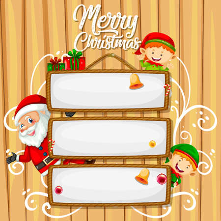 Blank wooden sign with Merry Christmas font logo illustration