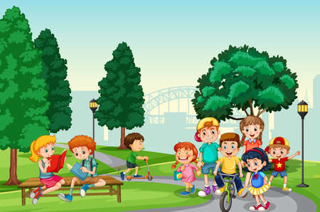 Children enjoy with their activity in the park scene illustration