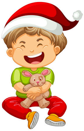 Cute boy wearing Christmas hat and playing with his toy on white background illustration 免版税图像 - 161313779