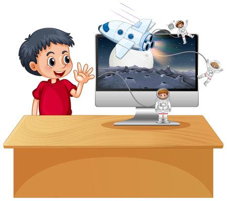 Boy next to computer with space scene desktop illustration 矢量图像