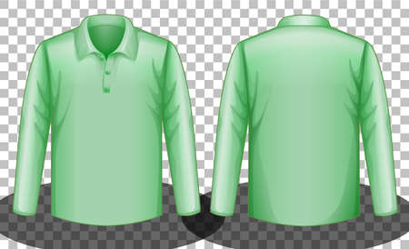 Green long sleeves polo shirt front and back side illustration 免版税图像 - 161313783