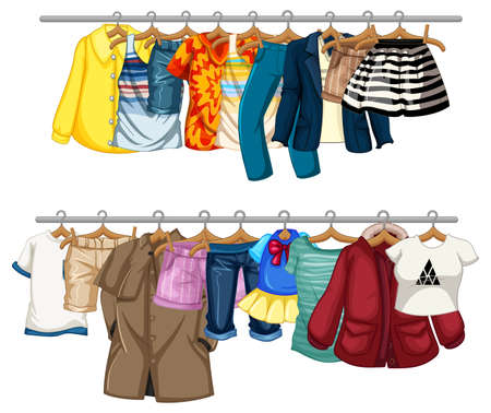 Many clothes hanging on a line on white background illustration 免版税图像 - 161313787