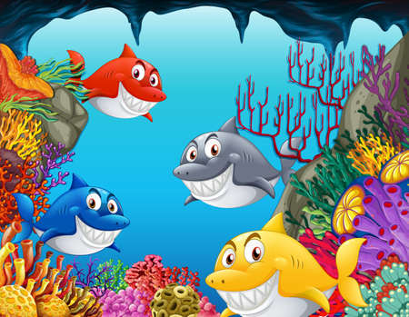 Many sharks cartoon character in the underwater background illustration 矢量图像