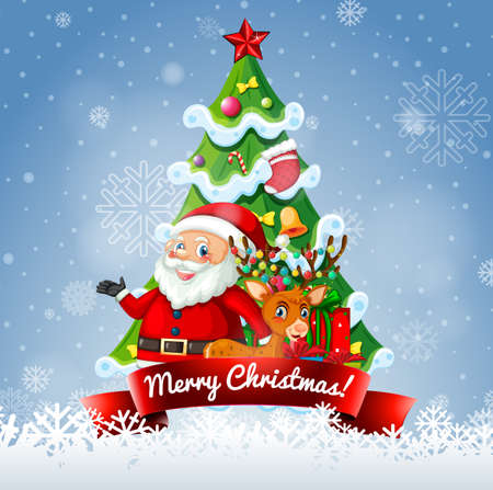 Merry Christmas 2020 font banner with Santa Claus and cute reindeer illustration
