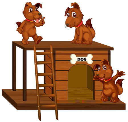 Dog house with cute dogs isolated illustration