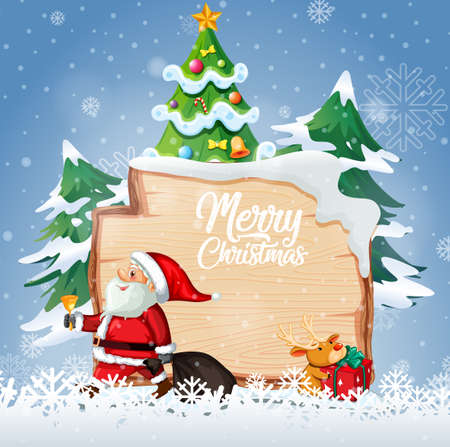Merry Christmas font logo on wooden board with Christmas cartoon character in snow scene illustration 免版税图像 - 161313791