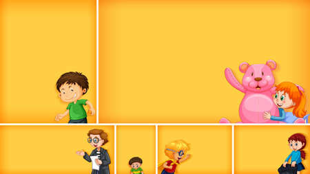Set of different kid characters on yellow color background illustration