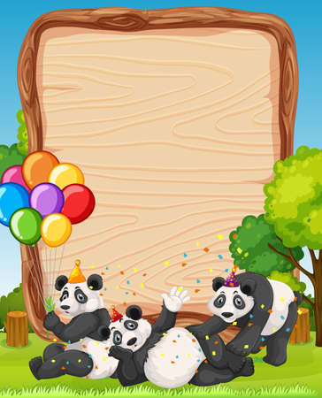 Blank wooden board template with pandas in party theme on forest background illustration