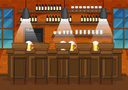 Pub and restaurant background scene illustration 矢量图像