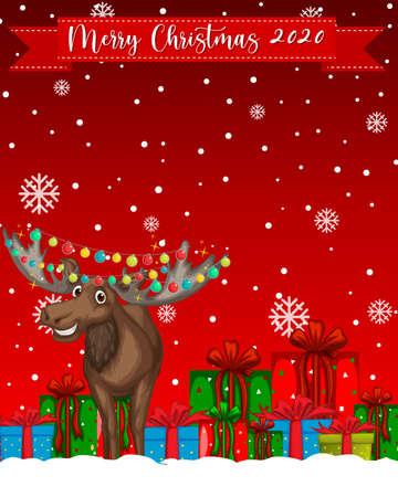 Merry Christmas 2020 font logo with reindeer cartoon character illustration 免版税图像 - 161313796