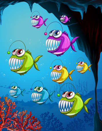 Many angler fishes cartoon character in the underwater scene with corals illustration