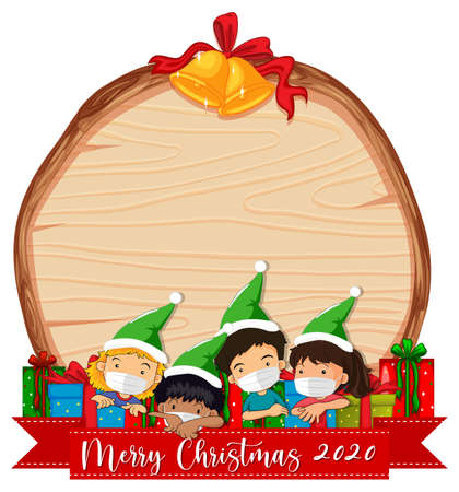 Blank wooden board with Merry Christmas 2020 font logo and children wear mask illustration