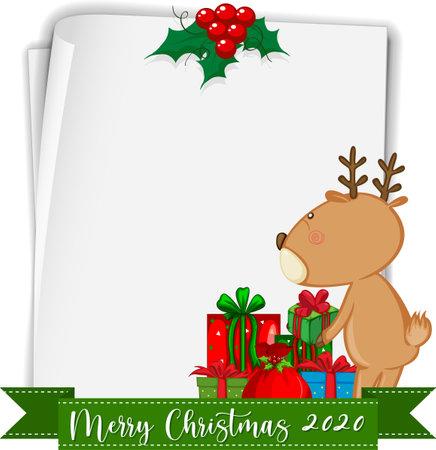 Blank paper with Merry Christmas 2020 font logo and reindeer illustration Ilustração