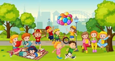 Children enjoy with their activity at the park scene illustration