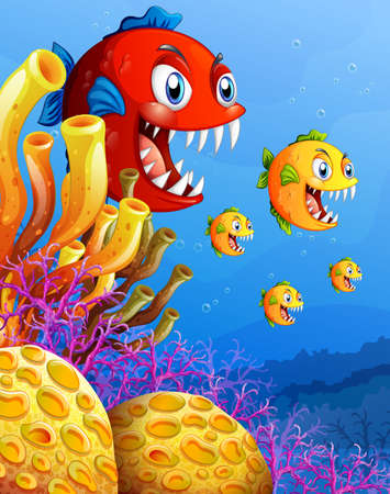 Many exotic fishes cartoon character in the underwater background illustration