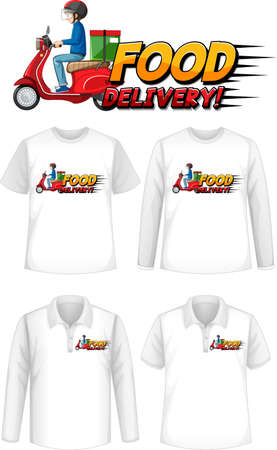 Set of different types of shirts with food delivery logo screen on shirts illustration 矢量图像