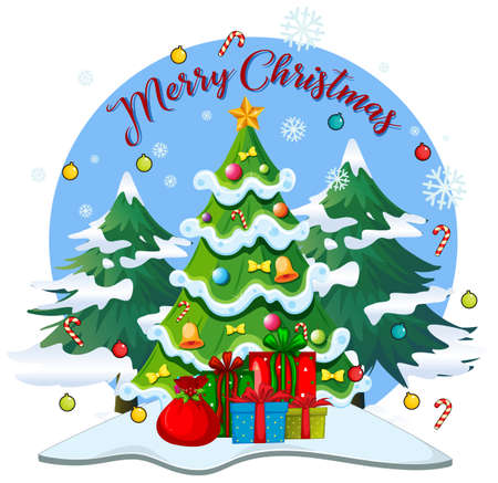 Merry Christmas font with many gifts in christmas theme on white background illustration