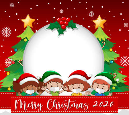 Blank circle banner with Merry Christmas 2020 font logo and kids wear mask on red background illustration 免版税图像 - 161313830