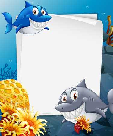 Blank paper template with many sharks cartoon character in the underwater scene illustration 免版税图像 - 161313831
