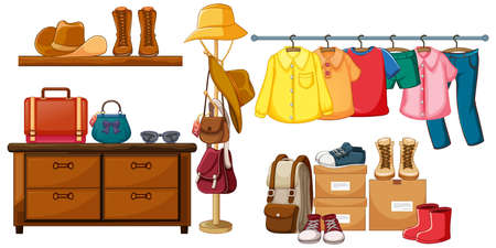 Outfit accessories object display on white background illustration