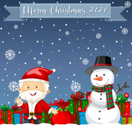 Merry Christmas 2020 font logo with santa claus cartoon character illustration