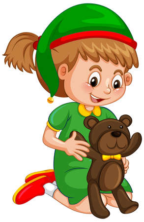 Cute girl wearing Christmas hat and holding teddy bear on white background illustration