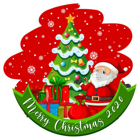 Merry Christmas 2020 font banner with Santa Claus wear mask cartoon character illustration 免版税图像 - 161313841