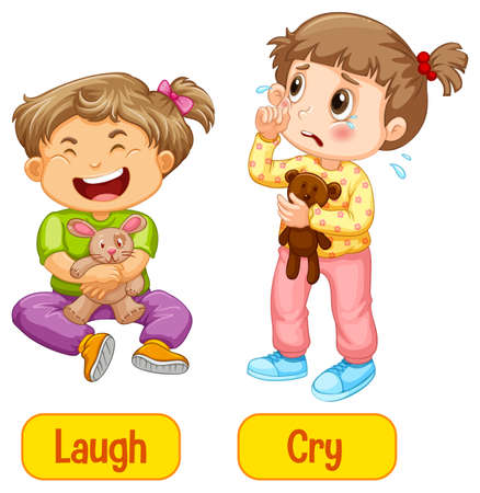 Opposite adjectives words with laugh and cry illustration Ilustración de vector