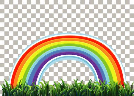 Grass and rainbow on transparent background illustration