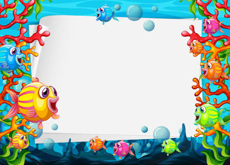 Blank paper template with colorful exotic fishes cartoon character in the underwater scene illustration 免版税图像 - 161313858