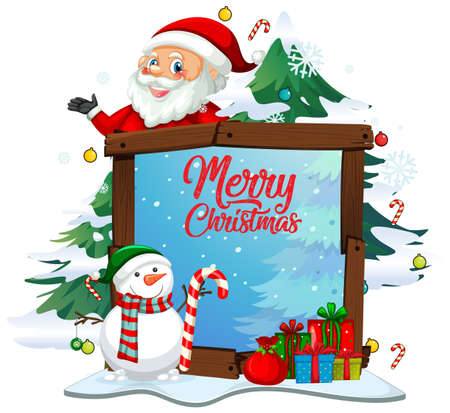 Merry Christmas font with Santa Claus in Christmas theme on white background illustration 矢量图像
