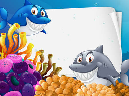 Blank paper template with many sharks cartoon character in the underwater scene illustration 矢量图像