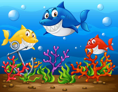 Many sharks cartoon character in the underwater background illustration 免版税图像 - 161313865