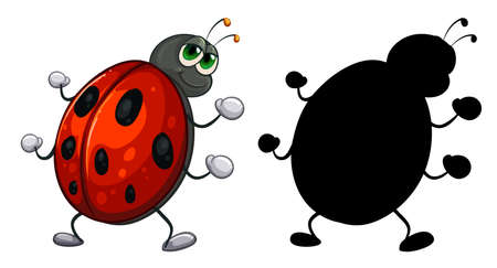 Set of insect cartoon character and its silhouette on white background illustration