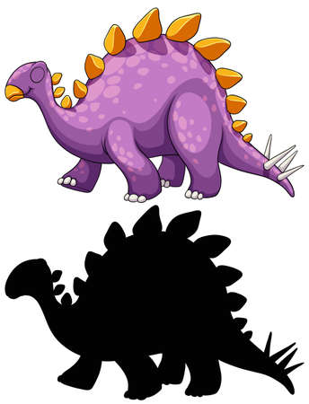 Set of dinosaur cartoon character and its silhouette on white background illustration 免版税图像 - 161313868